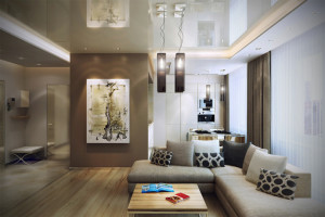 Home-Family-Room-Interior-Painted-in-Brown-and-White-with-Painting